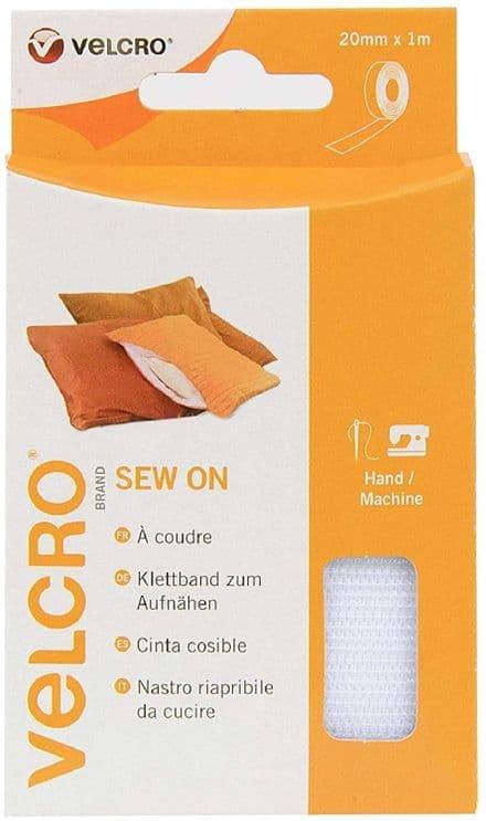 Velcro Hook & Loop Tape: Sew-On: 1m x 20mm: White - V60298